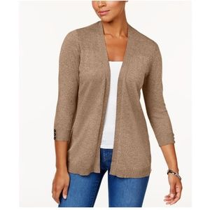Sweaters - KAREN SCOTT Ribbed Yoke Open Cardigan